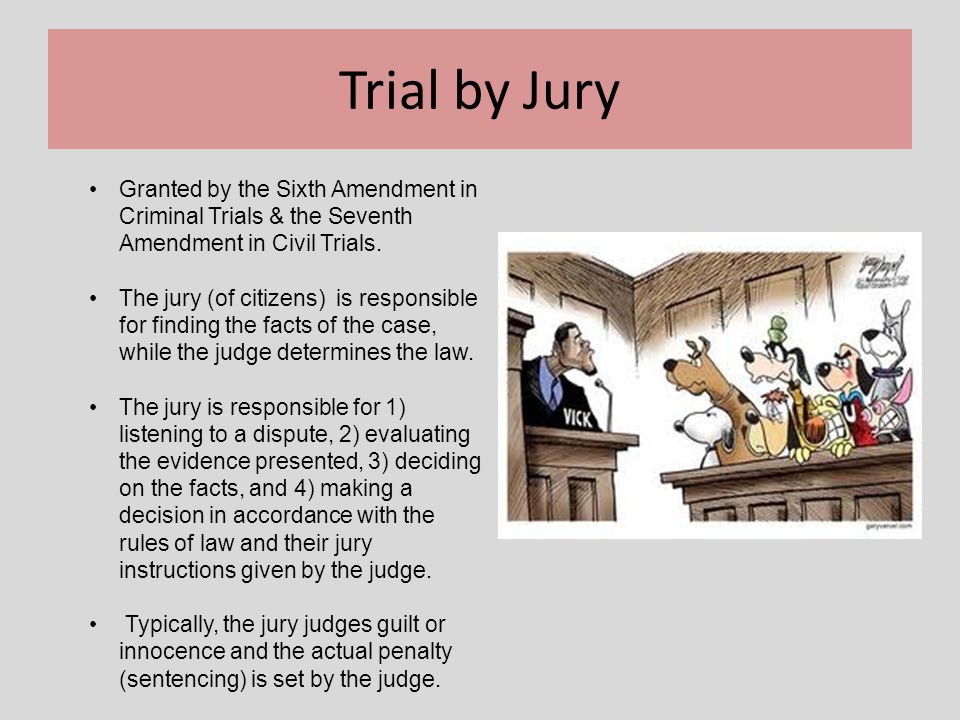 Trial by Jury Granted by the Sixth Amendment in Criminal Trials & the Seventh Amendment in Civil Trials.