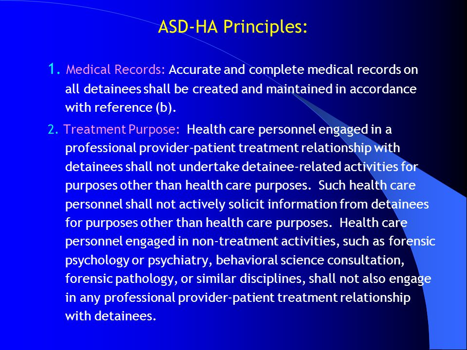 ASD-HA Principles: