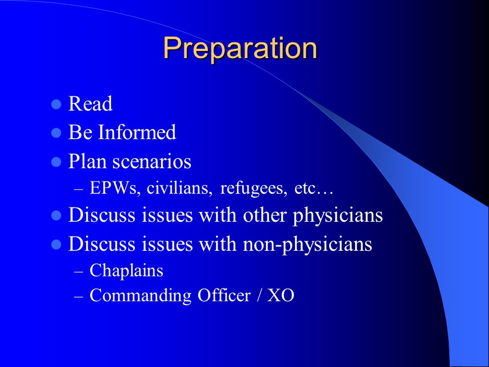 Preparation Read Be Informed Plan scenarios