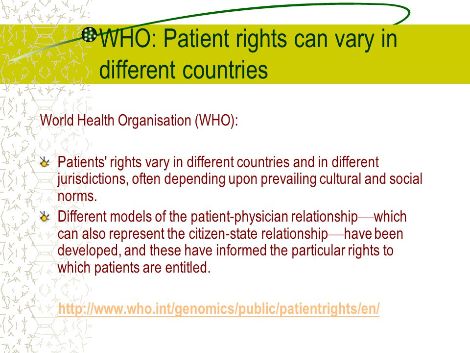 WHO: Patient rights can vary in different countries