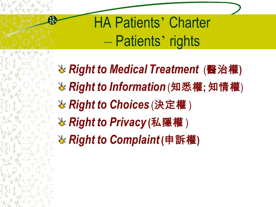 HA Patients' Charter – Patients' rights
