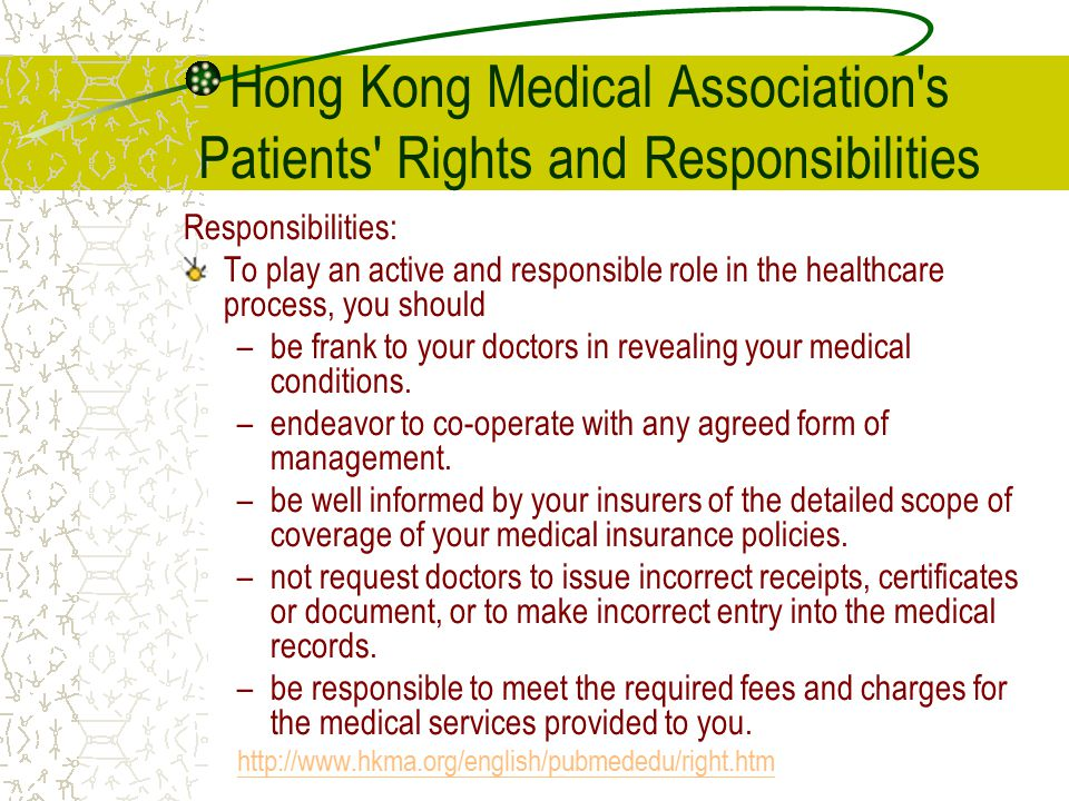 Hong Kong Medical Association s Patients Rights and Responsibilities
