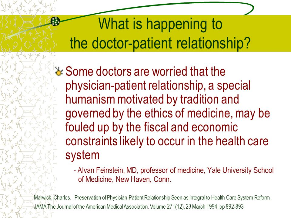 What is happening to the doctor-patient relationship