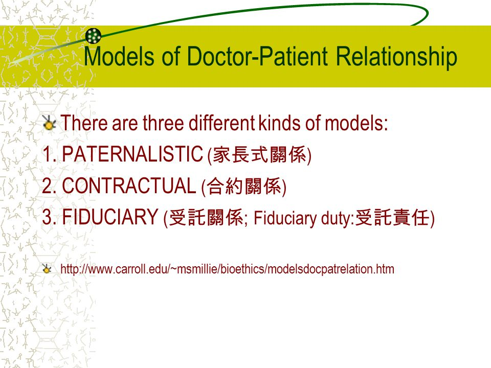 Models of Doctor-Patient Relationship