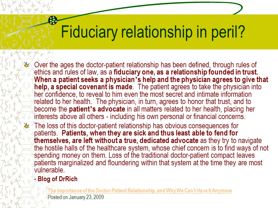 Fiduciary relationship in peril
