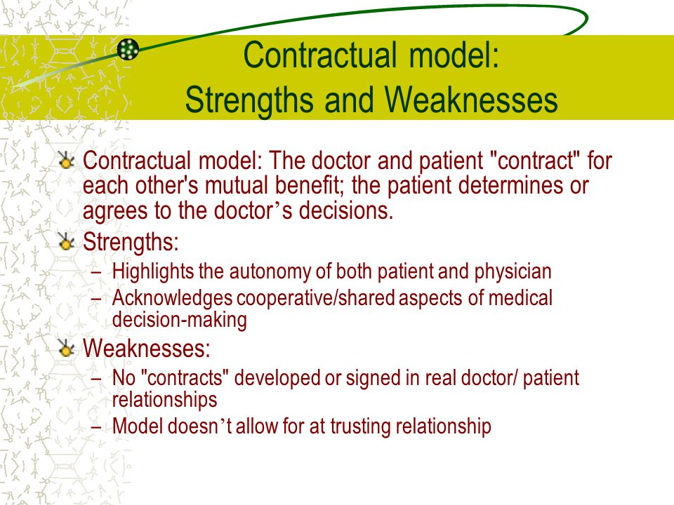 Contractual model: Strengths and Weaknesses