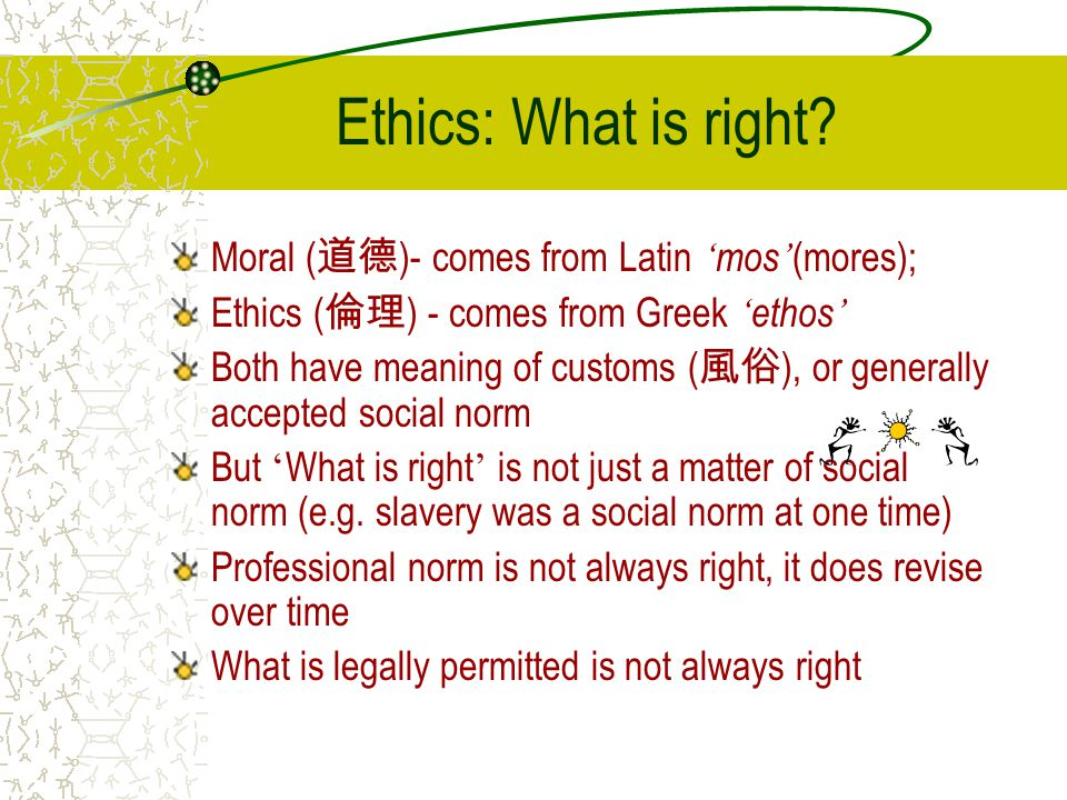 Ethics: What is right Moral (道德)- comes from Latin 'mos'(mores);