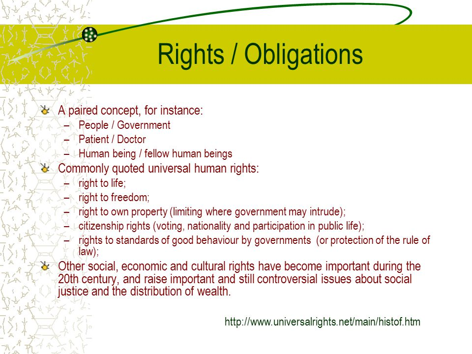 Rights / Obligations A paired concept, for instance: