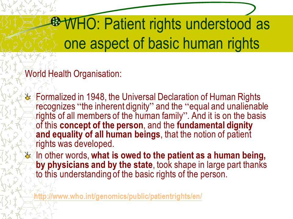 WHO: Patient rights understood as one aspect of basic human rights
