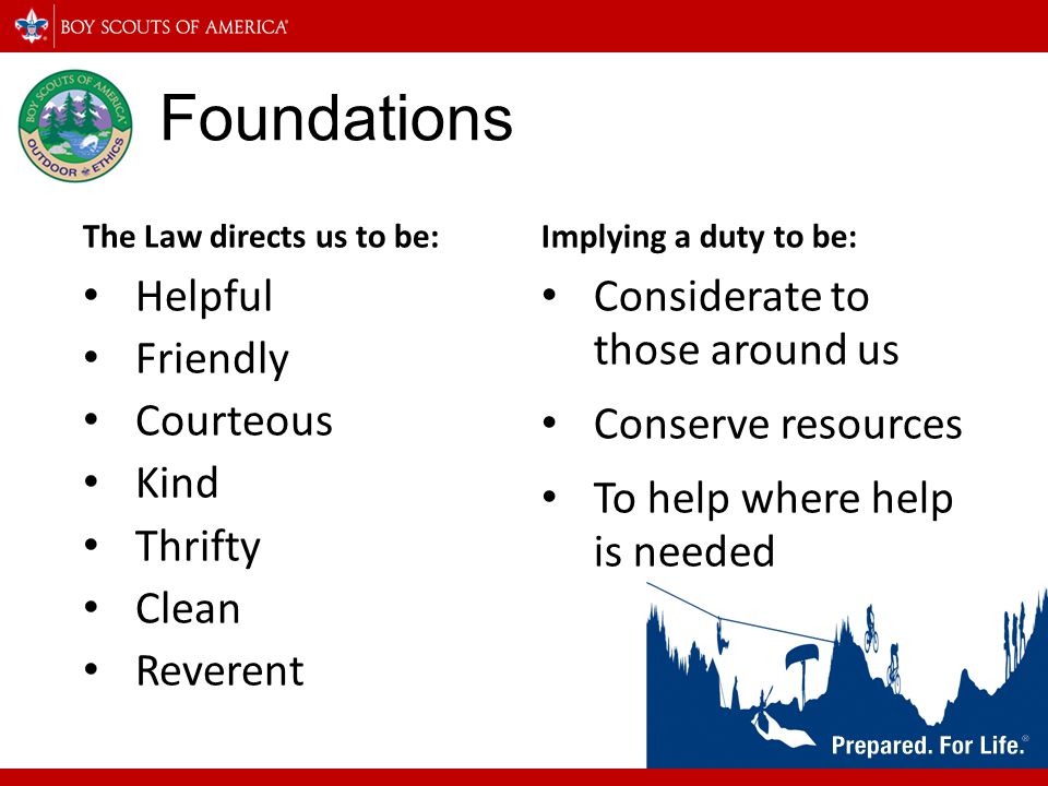 Foundations Helpful Friendly Courteous Kind Thrifty Clean Reverent