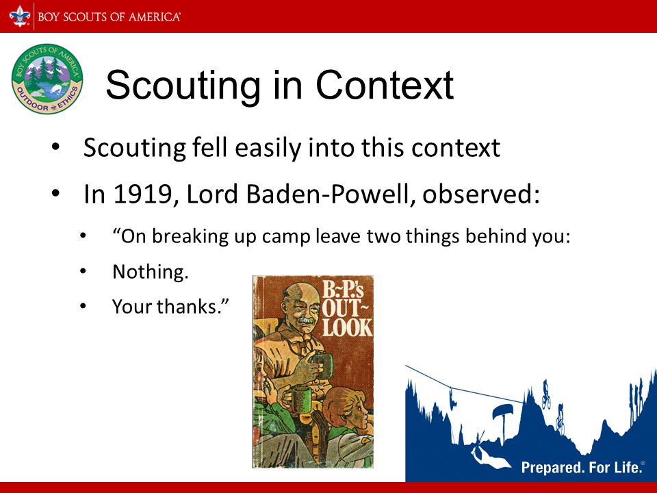 Scouting in Context Scouting fell easily into this context