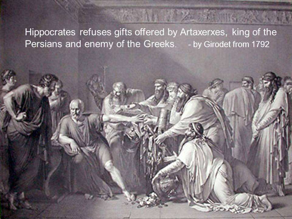 Hippocrates refuses gifts offered by Artaxerxes, king of the Persians and enemy of the Greeks.