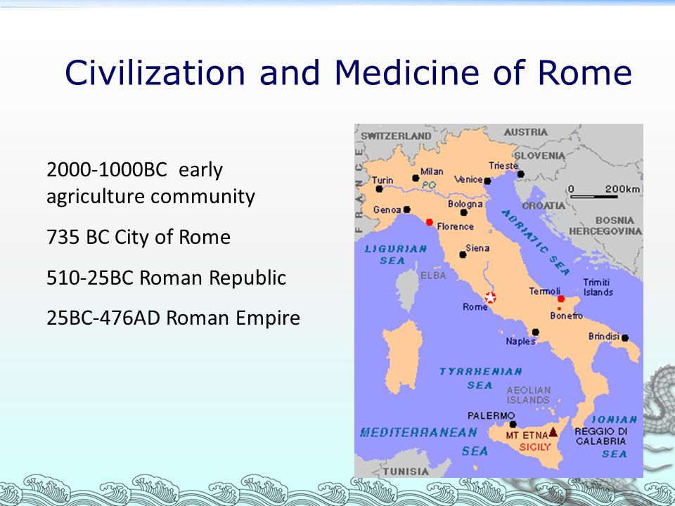 Civilization and Medicine of Rome