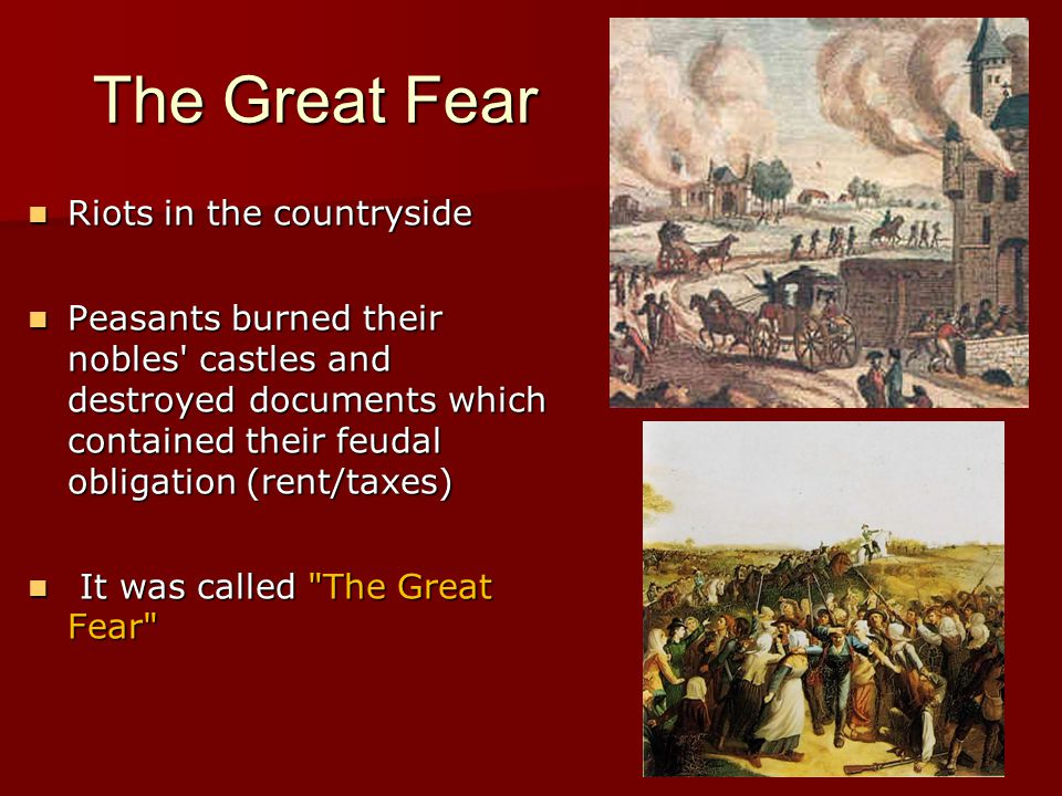 The Great Fear Riots in the countryside