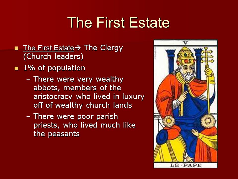 The First Estate The First Estate The Clergy (Church leaders)