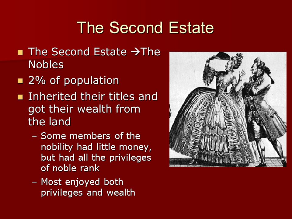 The Second Estate The Second Estate The Nobles 2% of population