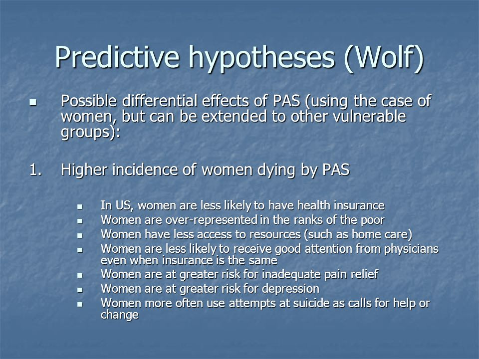 Predictive hypotheses (Wolf)