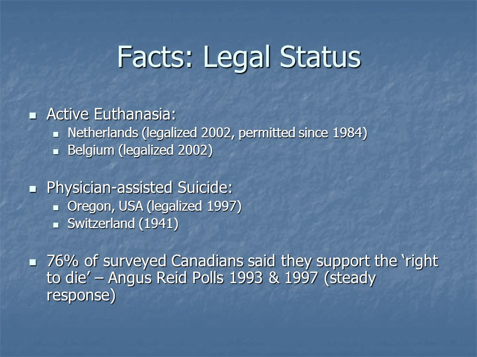Facts: Legal Status Active Euthanasia: Physician-assisted Suicide: