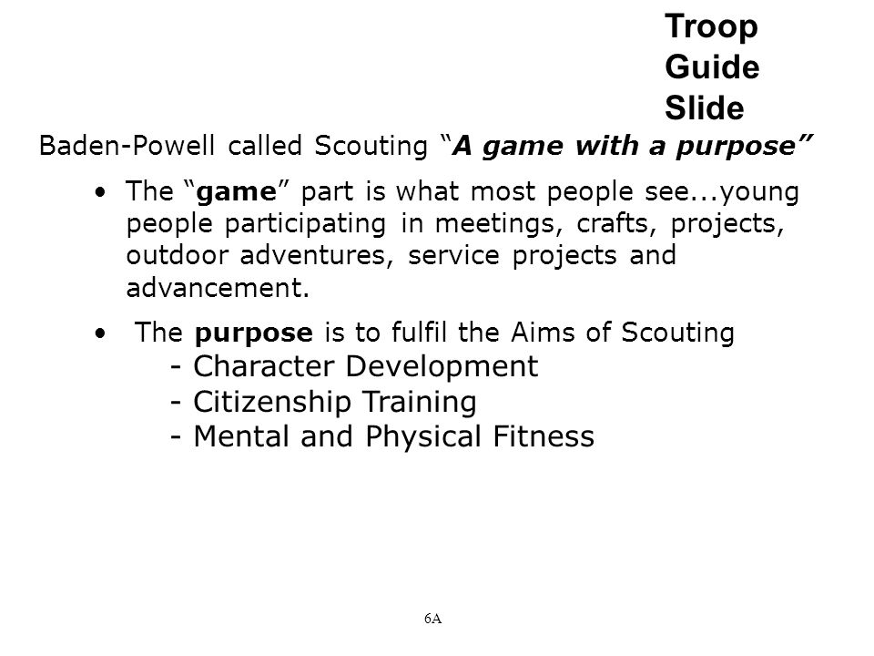 Troop Guide Slide - Character Development - Citizenship Training