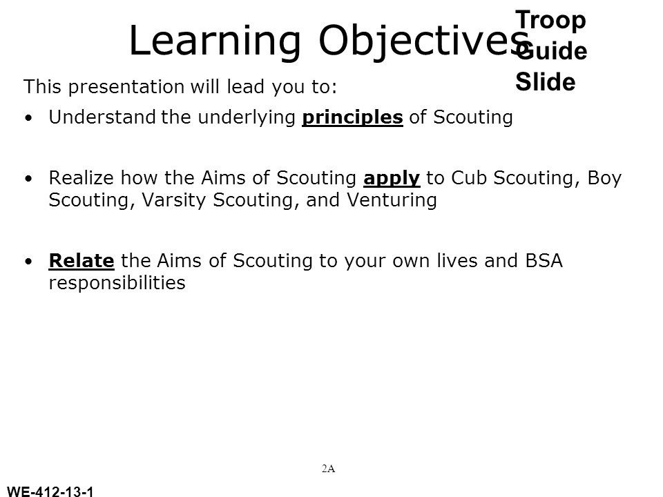Learning Objectives Troop Guide Slide