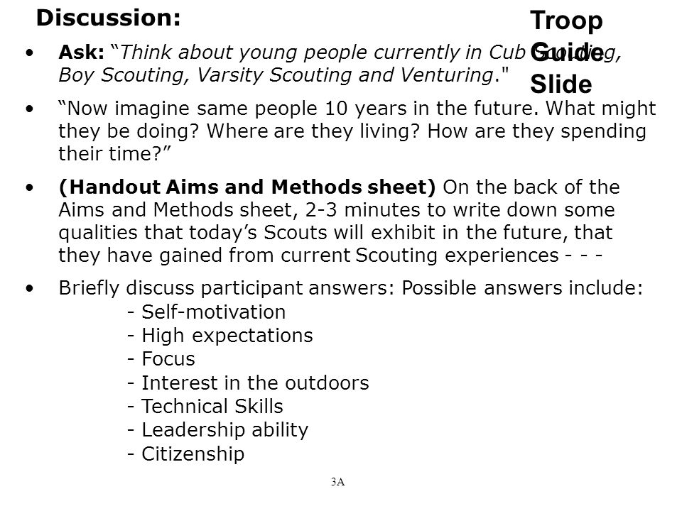 Troop Guide Slide Discussion: