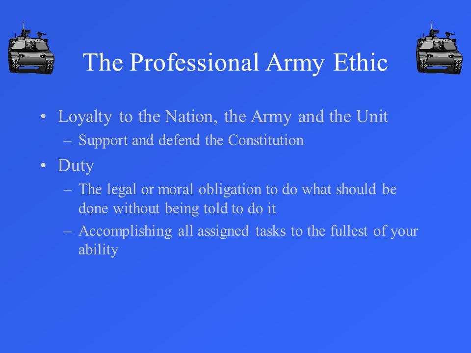 The Professional Army Ethic