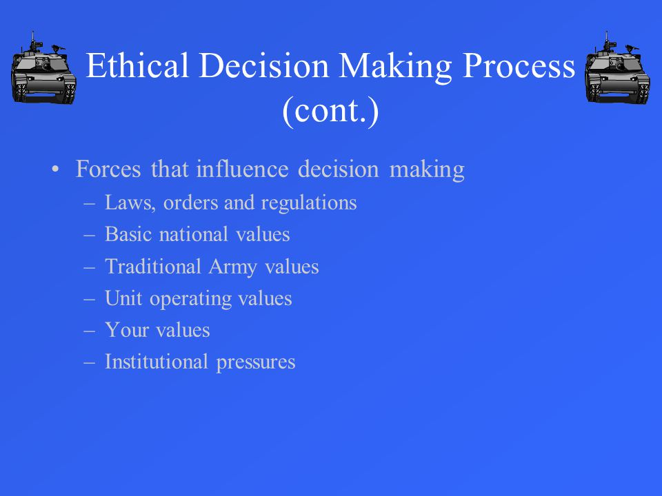 Ethical Decision Making Process (cont.)