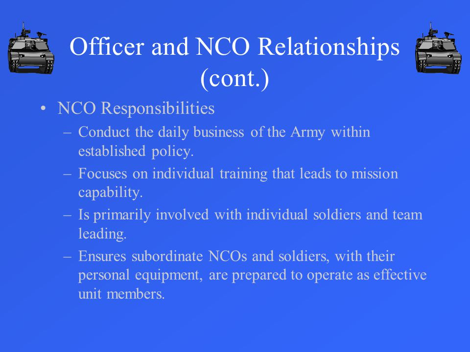 Officer and NCO Relationships (cont.)