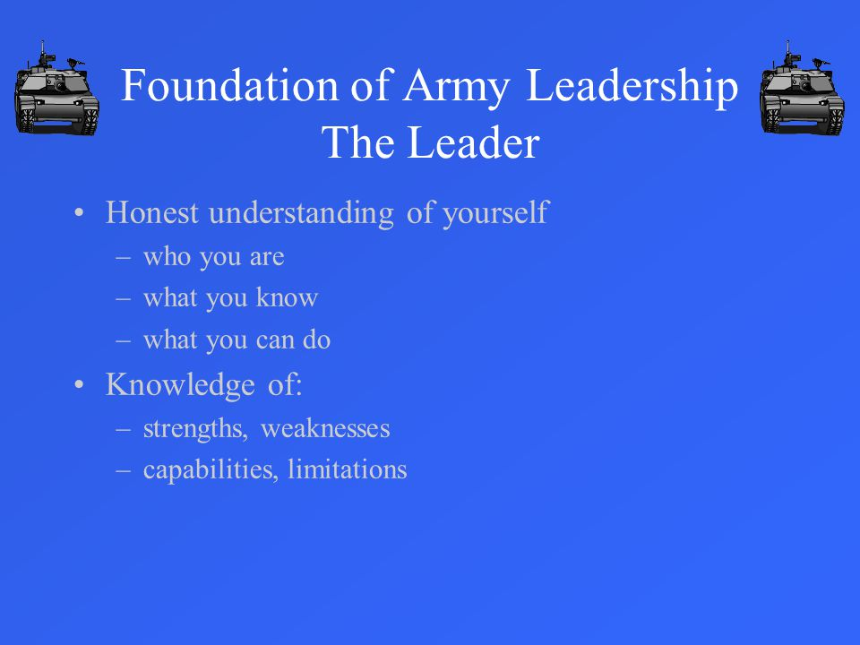Foundation of Army Leadership The Leader