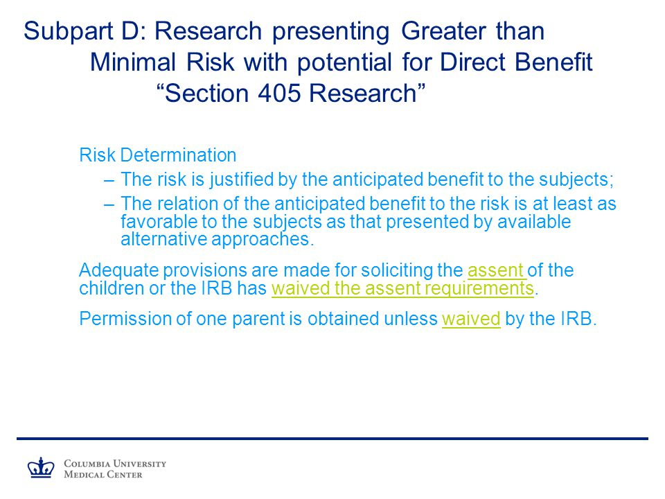 Subpart D: Research presenting Greater than