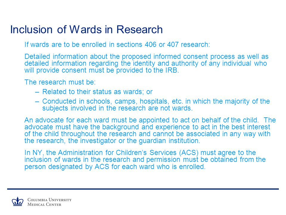 Inclusion of Wards in Research