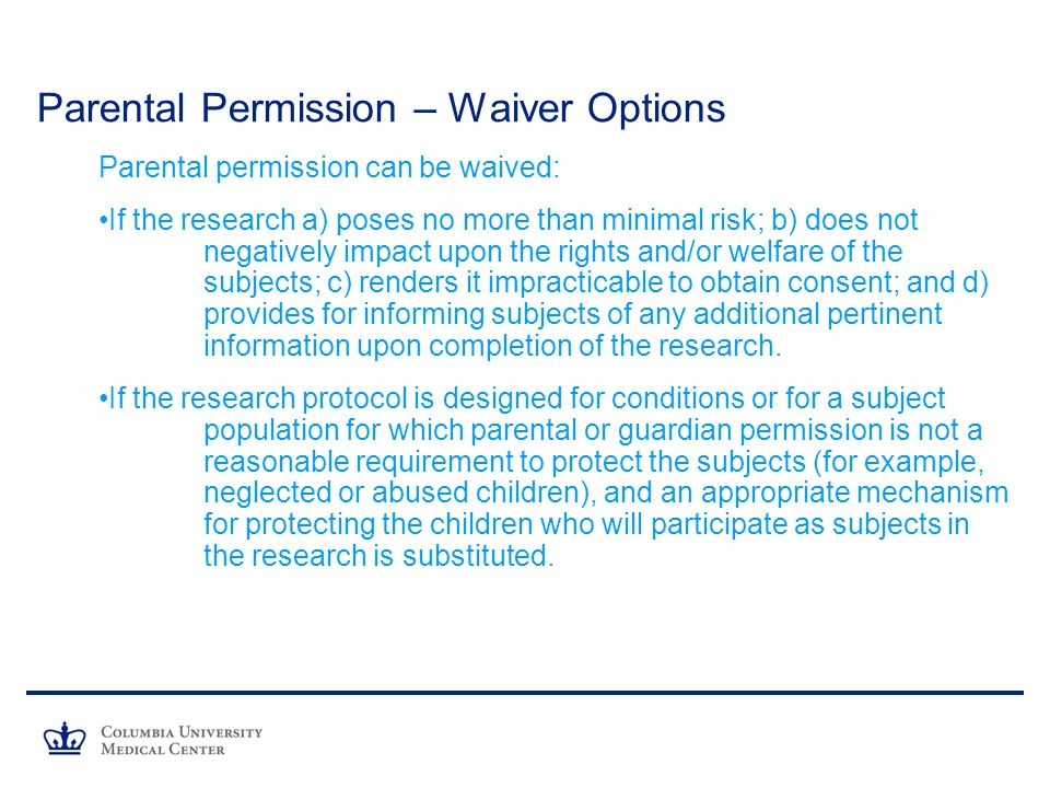 Parental Permission – Waiver Options