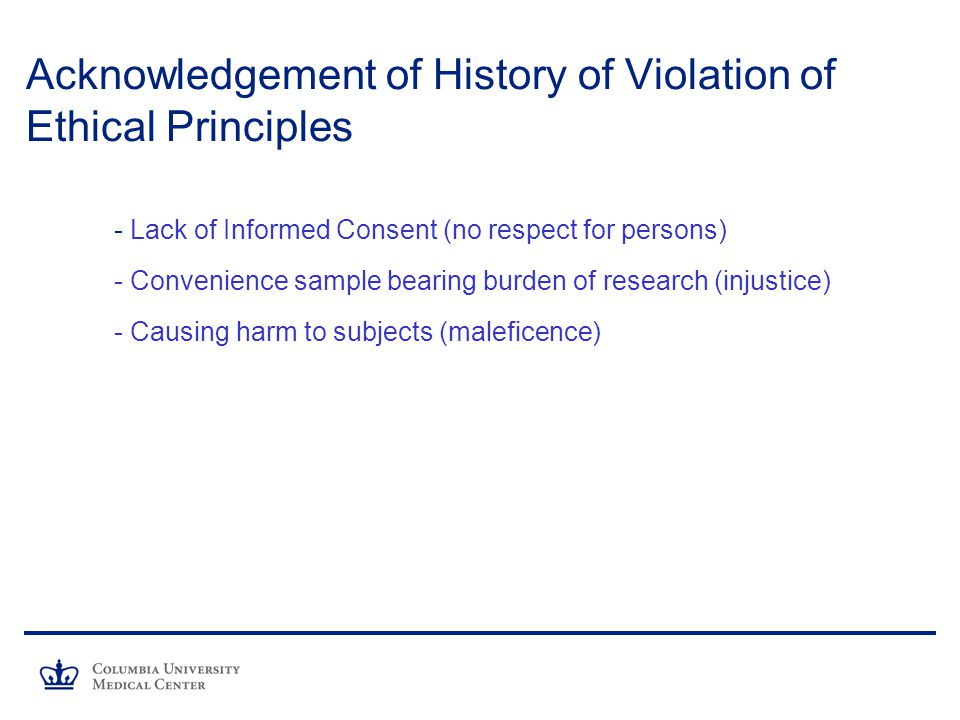 Acknowledgement of History of Violation of Ethical Principles