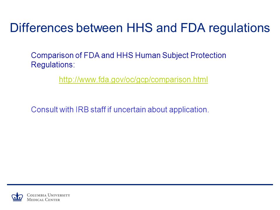 Differences between HHS and FDA regulations