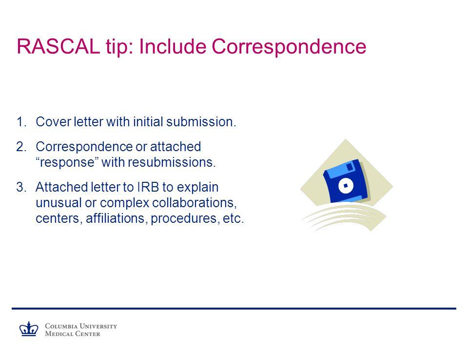 RASCAL tip: Include Correspondence