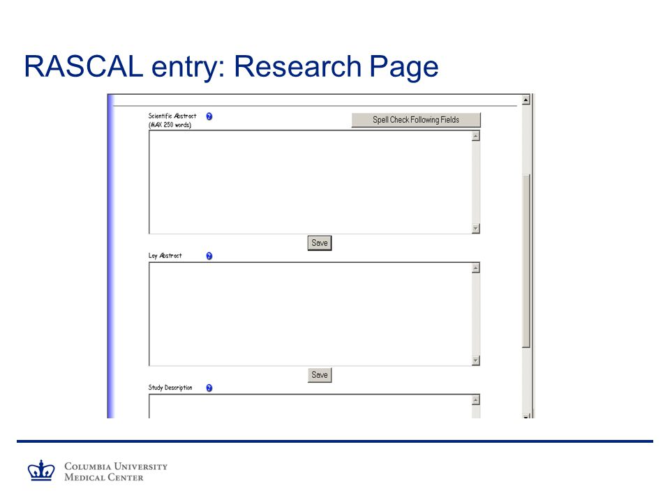 RASCAL entry: Research Page