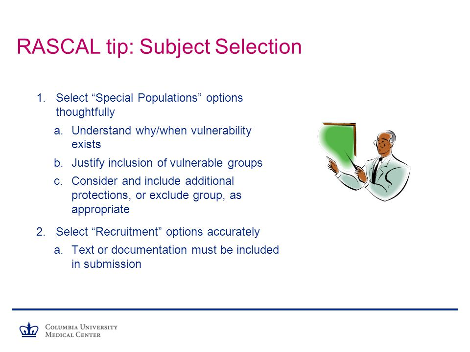 RASCAL tip: Subject Selection