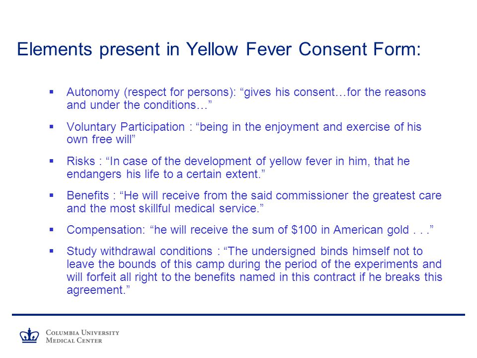 Elements present in Yellow Fever Consent Form: