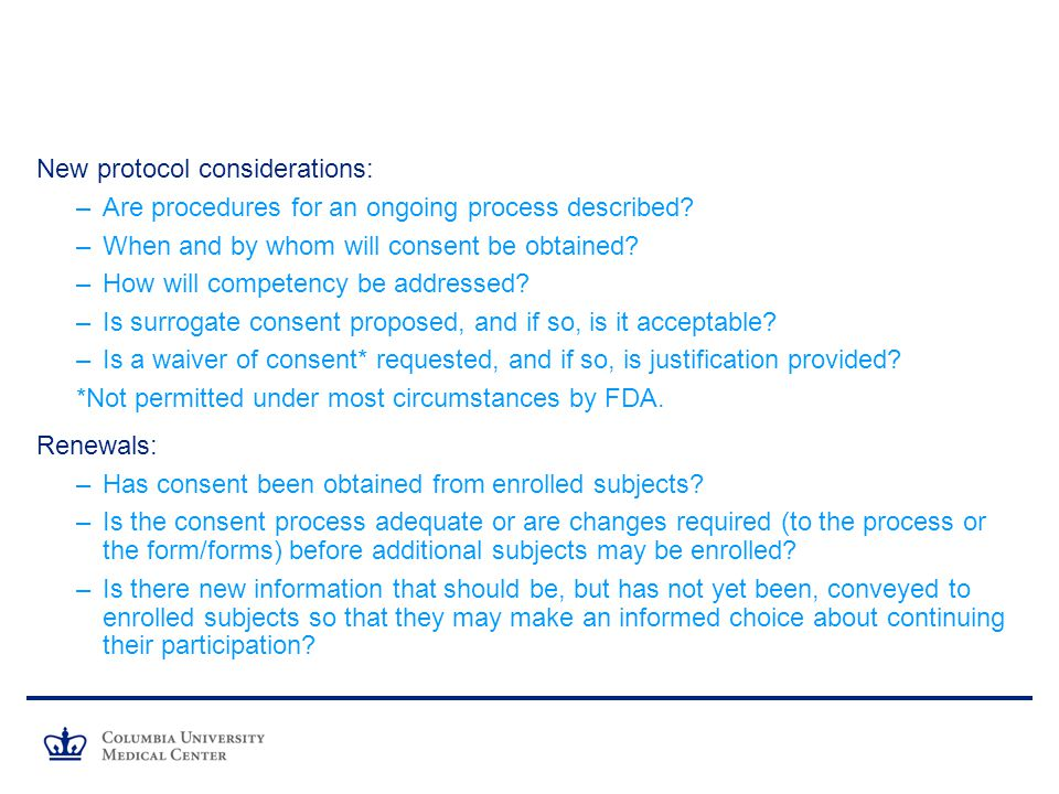 New protocol considerations:
