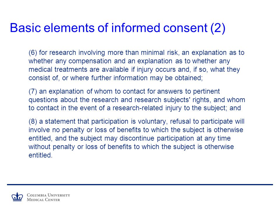 Basic elements of informed consent (2)