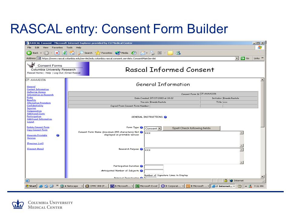 RASCAL entry: Consent Form Builder