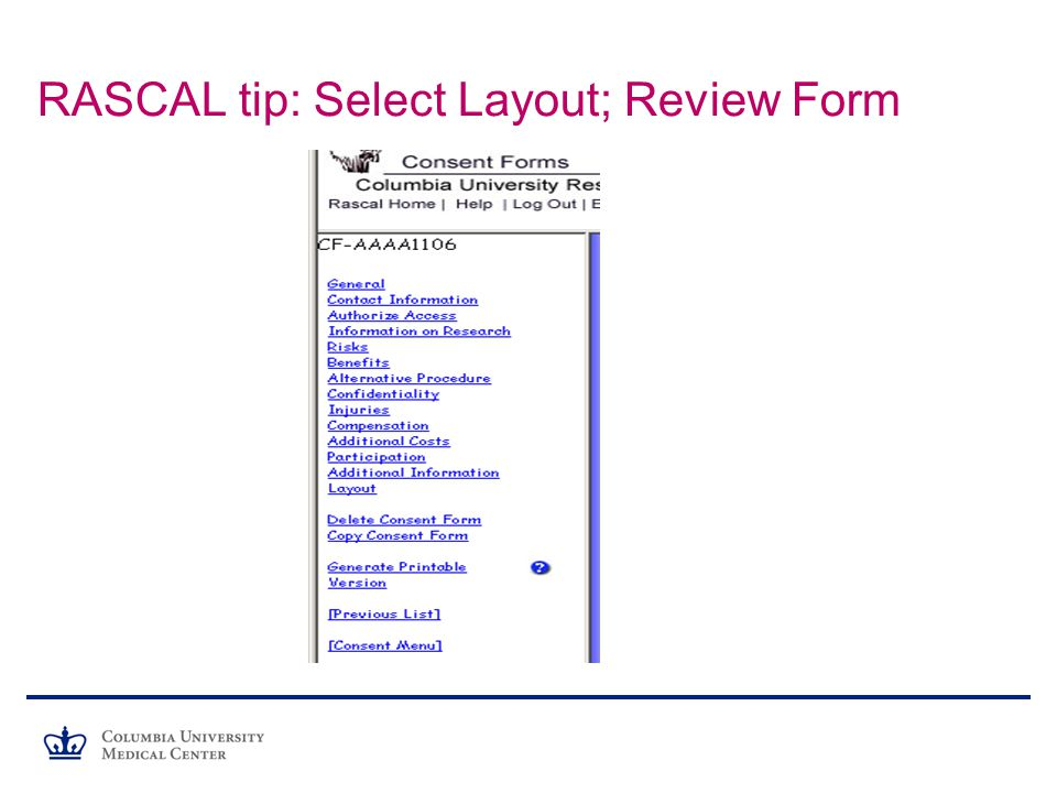 RASCAL tip: Select Layout; Review Form