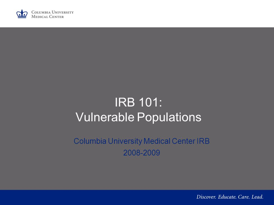 IRB 101: Vulnerable Populations