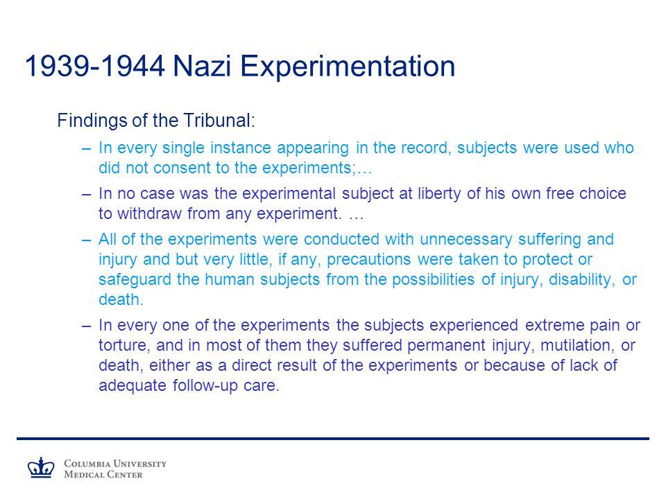 1939-1944 Nazi Experimentation