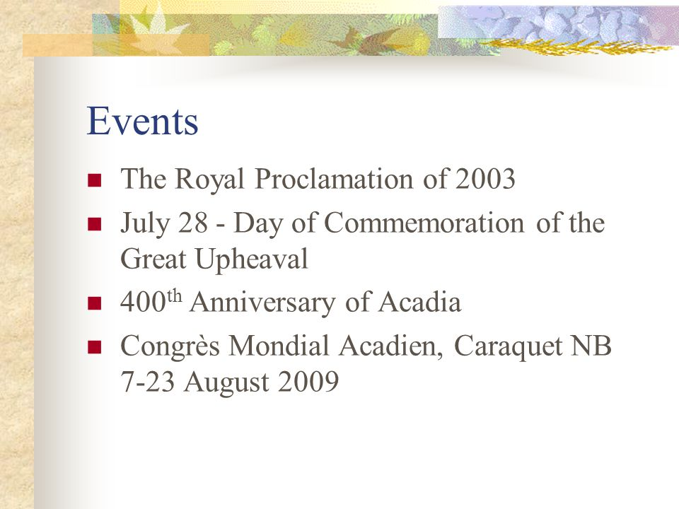 Events The Royal Proclamation of 2003