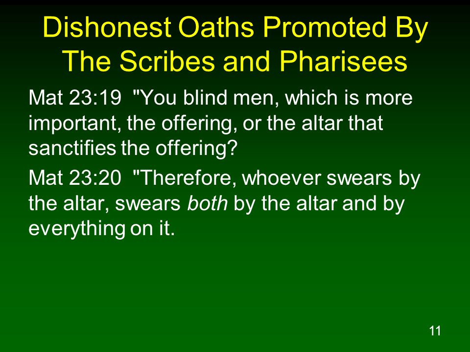 Dishonest Oaths Promoted By The Scribes and Pharisees