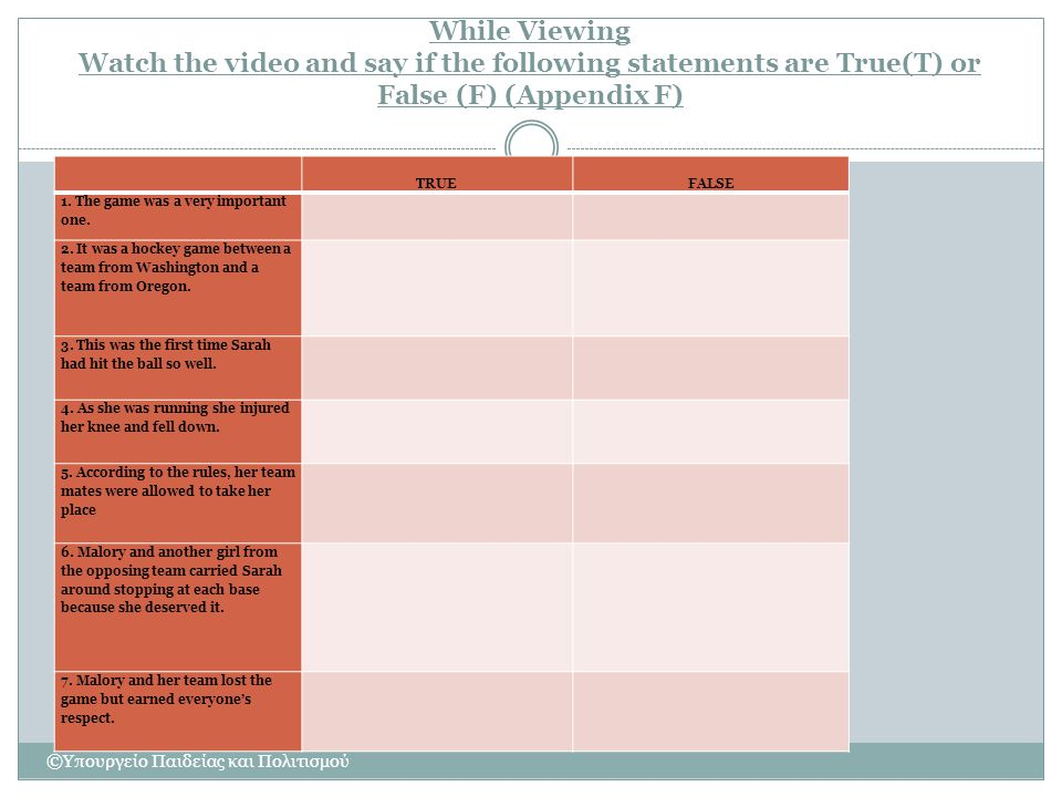 While Viewing Watch the video and say if the following statements are True(T) or False (F) (Appendix F)