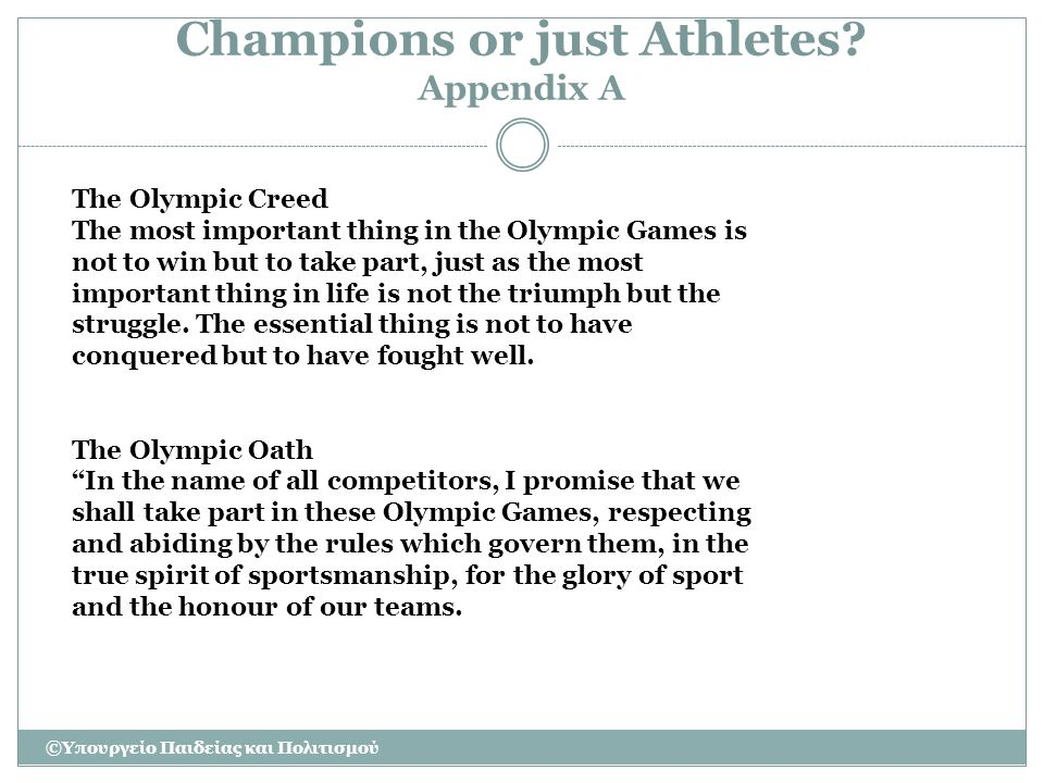 Champions or just Athletes Appendix A