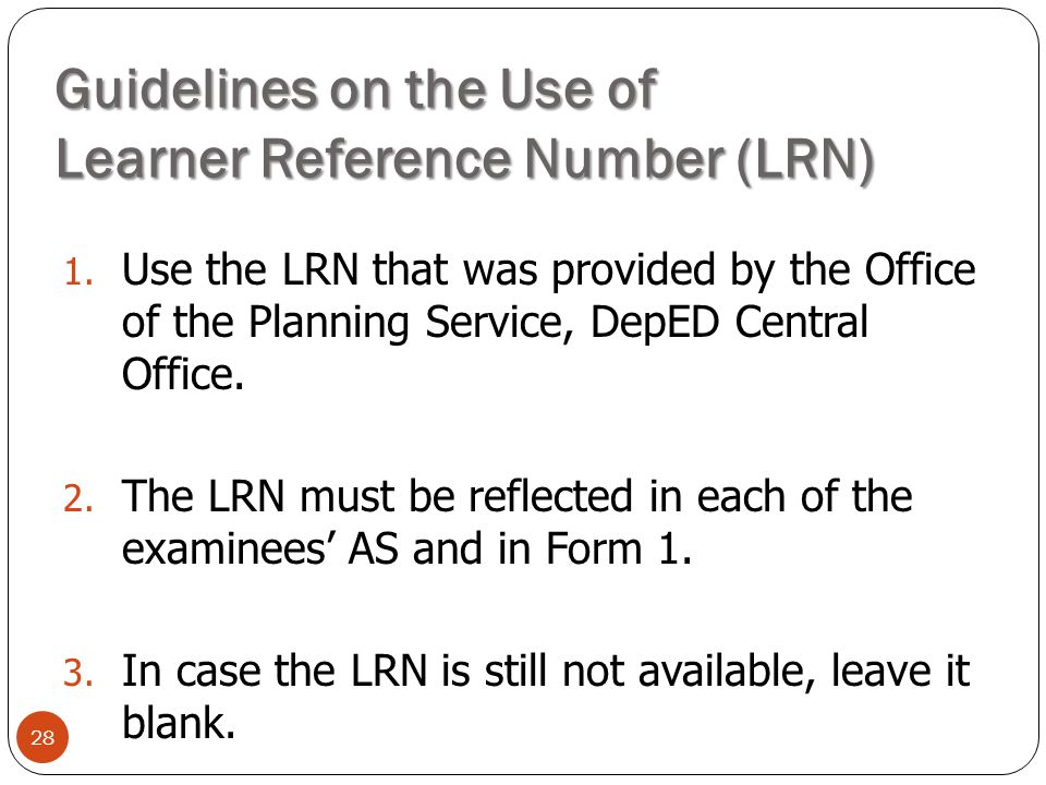 Guidelines on the Use of Learner Reference Number (LRN)