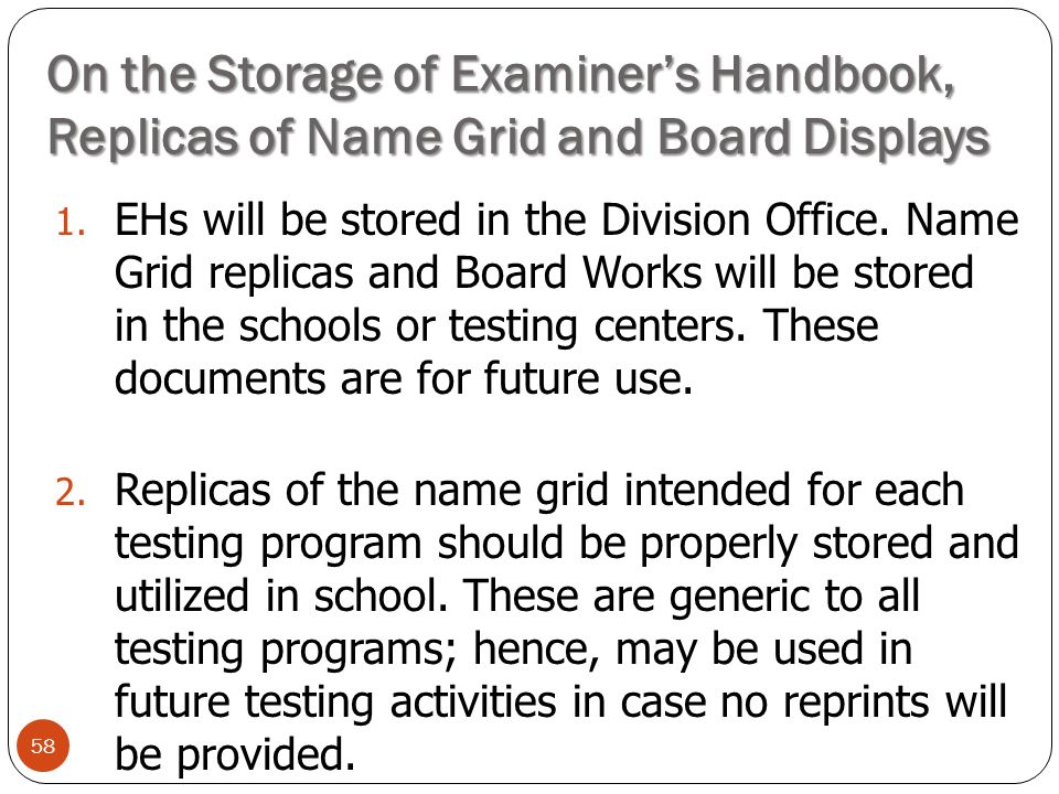 On the Storage of Examiner's Handbook, Replicas of Name Grid and Board Displays